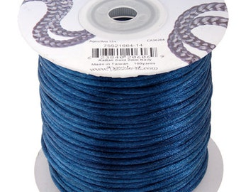 Navy Satin 2 mm Rattail Cord - 100 yd - 300 Ft - Full Spool - Kumihimo Cording