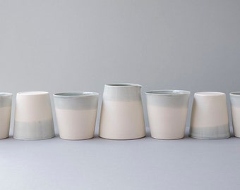 Porcelain Cup / Tumbler / Beaker. White and Grey. Handmade wheel thrown ceramic porcelain pottery.