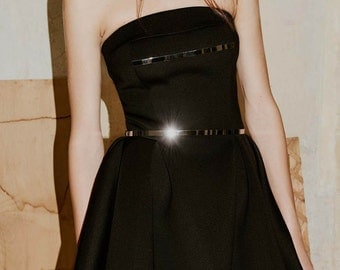 SALE Neoprene Mini Black Dress with Metal Details, Light Neoprene Waist Fitted Dress with A-line Skirt by ILMNE
