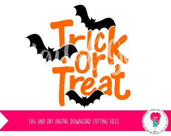 Trick or Treat SVG / DXF Cutting Files For Cricut Explore / Silhouette Cameo And PNG Clipart Digital Download.  Commercial Use Ok