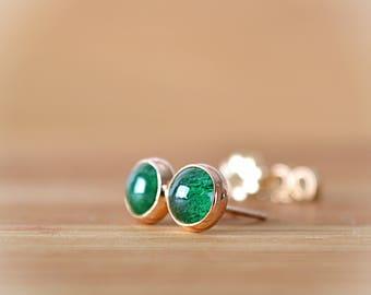 Green Aventurine Earrings, Natural Emerald Green Aventurine Stud Earrings, Green Gemstone Earrings: Sterling Silver, 14k Gold Filled