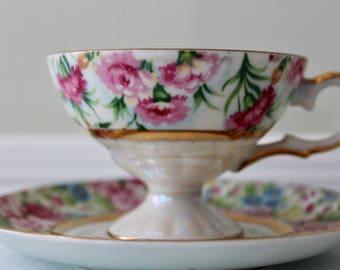 Elegant Lefton China Teacup and Saucer