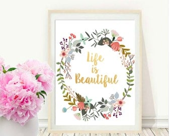 Word Art, Life Is Beautiful, Typography Quote, Gallery Wall Print, Home Decor, Motivational Poster, Wall Art