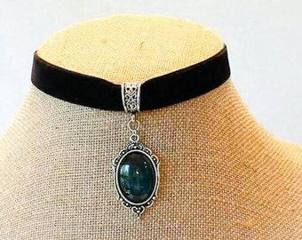 Black velvet Victorian Choker vintage Victorian jewelry steampunk choker necklace blue moonstone OOAK jewelry handcrafted gifts for her