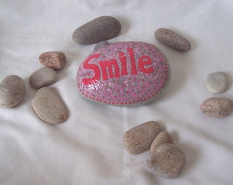 Hand Painted Mandala Message Pebble SMILE Mandala Dotwork Hand Painted Natural Pebble