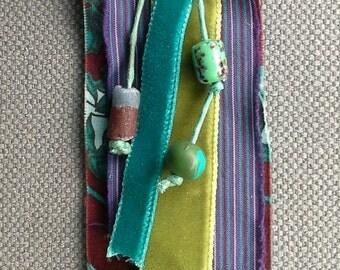 Necklace/pendant textile, amulet, inspiration Nordic colors, original creation.
