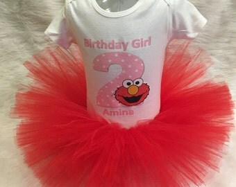 Handmade baby girl second 2nd first 1st 3rd pink and red   Elmo  tutu outfit