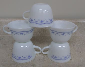 Set of 5 Vintage Morning Blue Milk Glass Pyrex Coffee Cups Country Cottage Shabby Chic Light Blue / White Retro KitchenTea cups Corning