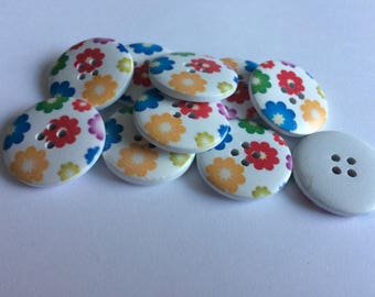 25mm wooden buttons floral  x 15