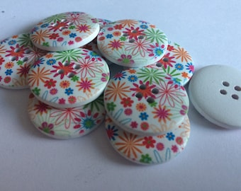 25mm wooden 4 hole buttons floral  x 15