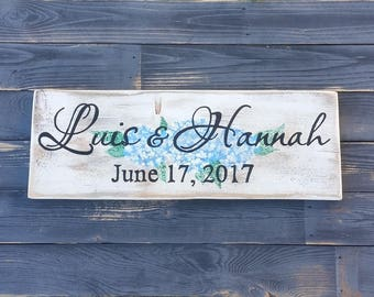 Wedding sign, Family name sign, personalized wedding board, last name sign, handpainted, country antiqued, anniversary gift, wedding gift