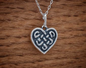 STERLING SILVER Celtic Heart knot Pendant or Earrings - Chain Optional