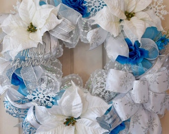 White and Turquoise Mesh Christmas Wreath with Poinsettias and Snowflakes; Holiday Decor Wreath; Winter Decor Wreath; Christmas Decor