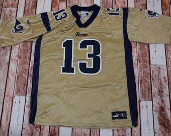 8de862ed9b2 ... Kurt Kurt Warner St Louis Rams NFL Football Jersey Puma Large ...