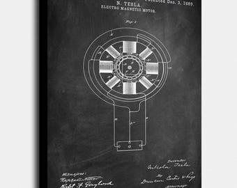 Nikola Tesla Electro Magnetic Motor Canvas Print, Electro Magnetic Motor Patent, Vintage Art, Blueprint, Poster,PatentPrints,Wall Art, Decor