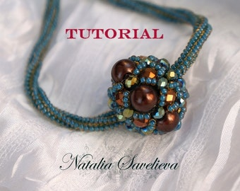 Beading Tutorial, Necklace with Bead Pendant, Jewelry Tutorial,  Bead Pattern PDF, Instant Download.