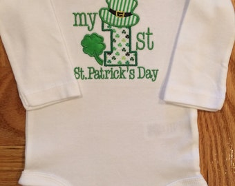 My 1st St. Patrick's Day Onesie OR Burp Cloth
