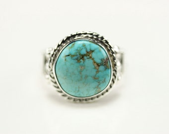 Sterling Silver Navajo Turquoise Ring Size 8.5 By Samuel Yellowhair