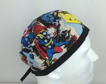 Marvel comics Mens surgical scrub hat, mens scrub cap, nurse hat, chemo cap.