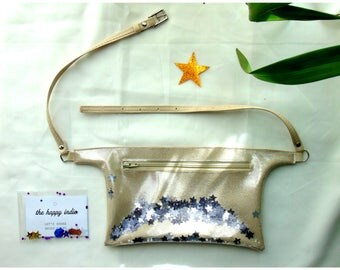 Beige belt bag adjustable waistband with starlets eperline shakerabili