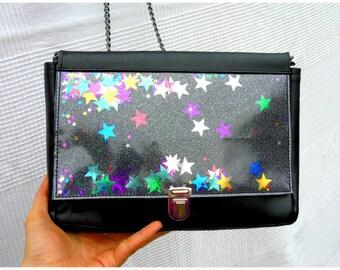 Black leather shoulder bag and stars multi color shakerabili
