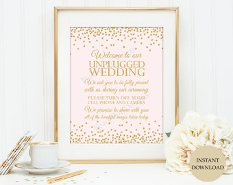 """Unplugged wedding sign 8x10"""" (INSTANT DOWNLOAD)  - Unplugged ceremony sign - Wedding sign - Blush and gold wedding O001B"""