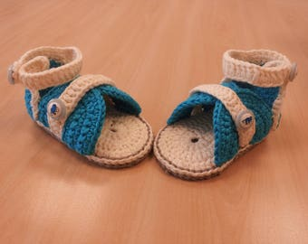 Crochet PATTERN - Blue star sandals pattern.