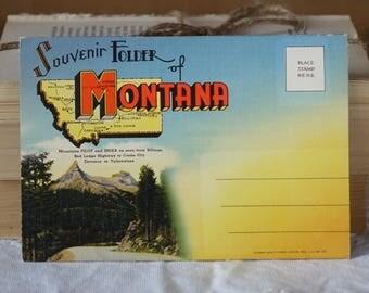 Vintage MONTANA images folder - Souvenir folder of Montana  - Vintage 1950s