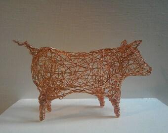 Copper Wirework Pig Sculpture