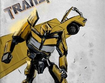 Transformers Movie Poster Fan Art Megan Fox Bumblebee Film Artwork Robot Car Print