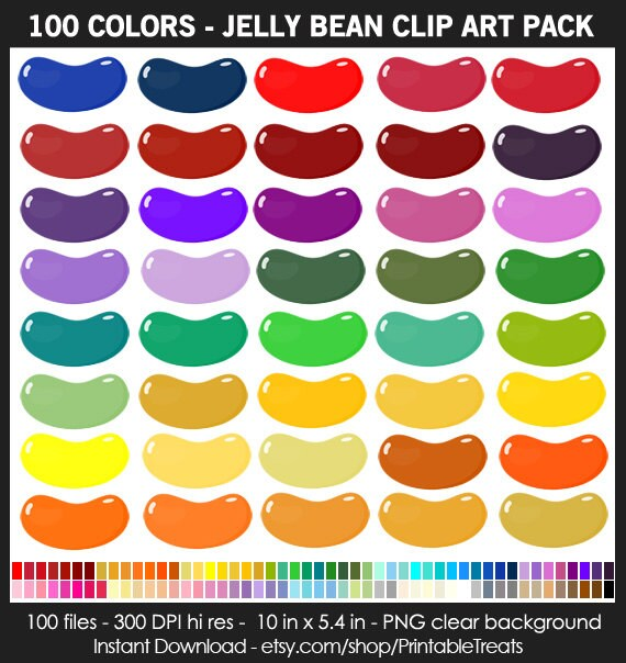 100 Colors Jelly Bean Clipart Commercial Use Candy