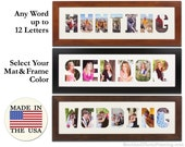 Collage Frame Wordmat Picture Frame Name Cutout Word Art Custom Wall Art Personalized Print Picture Frame Photo Letters Multi Photo Prints