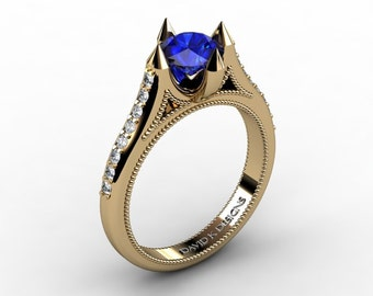 Modern 14K Yellow Gold 1.0 Carat Blue Sapphrie Diamond Solitaire Engagement Ring R1108-14KYGDBS