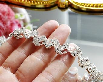 High quality Wave Rhinestone Trim,1/2Yard, Rhinestone collar Applique,Crystal applique, Sash Applique,Bride hair band,DIY Wedding