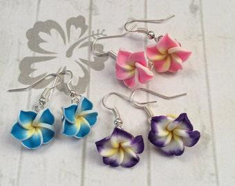 Plumeria Hibiscus Frangipani Hawaiian Flower Earrings, Surf Earrings, Surf Jewellery.