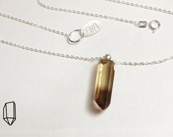 Smoky quartz point silver necklace, delicate natural smoky quartz crystal point, solid 925 sterling silver 16 inch, 1,2mm chain, handmade