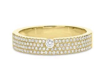 0.33ct 14k Yellow Gold Diamond Pave Lady's Ring