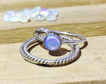 Natural Opal Ring - October Birthstone Ring - Stacking Ring - 925 Sterling Silver - Gift for her
