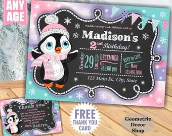 Winter Wonderland Birthday invitation Birthday invite Pink Purple Aqua Teal Penguin invites Photo Invitations Christmas Holiday BDW30