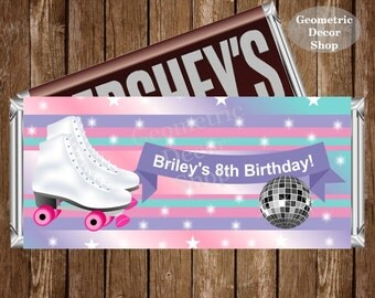 Roller Skates Chocolate Bar Girl Pink Purple Teal Birthday Candy Bar Chocolate Digital Wrappers Favor Print Hershey Bar Printable CBRS1