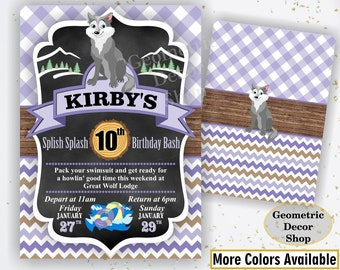 Lumberjack Birthday Party Invite First Birthday Wilderness Purple Plaid Lumber Jack Invitation Rustic Great Wolf Lodge buffalo Girl BDLJ51