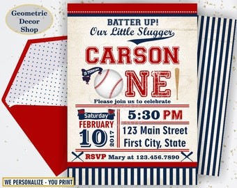 First Birthday invitation Vintage Baseball Sports Invite 1st All star invitations One Ball red blue invites boy photo photograph BDSP9