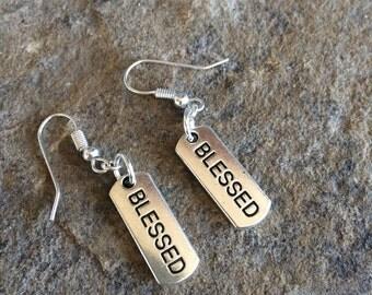 Blessed earrings, blessed charm, dangle earrings