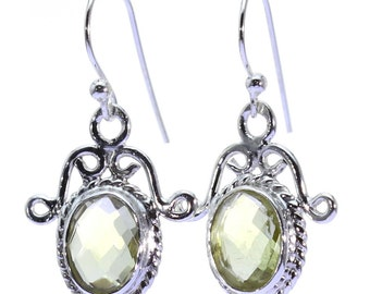 Lemon Quartz Earrings, 925 Sterling Silver, Unique only 1 piece available! color yellow, weight 3.1g, #38524
