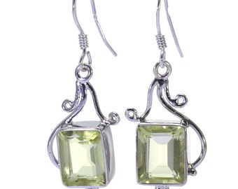 Lemon Quartz Earrings, 925 Sterling Silver, Unique only 1 piece available! color yellow, weight 5.6g, #32323