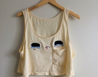 Crybaby crop tank // hand-embroidered // OOAK