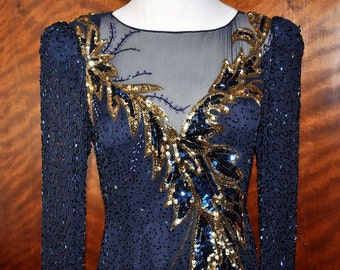 Vintage Navy Blue Beaded Sequin Formal Gown, Mother of the Bride, Navy Blue Formal Dress, Navy Evening Gown, Silk Beaded Gown, Vintage Gown