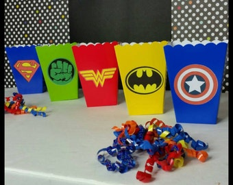 10 Superhero Logo Themed Favor Boxes, Superhero Snack Boxes