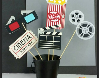 5 pc Movie Centerpiece, Movie Cake Toppers!