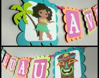Hawaii Luau Themed  Happy Birthday Banner